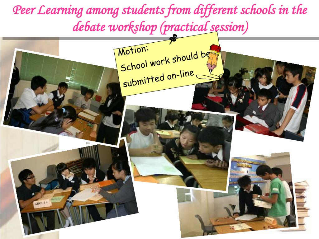 Peer Learning among students from different schools in the debate workshop (practical session)
