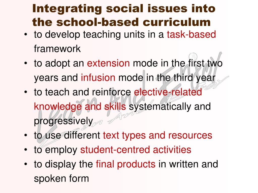 Integrating social issues into