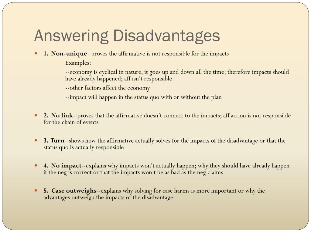 Answering Disadvantages