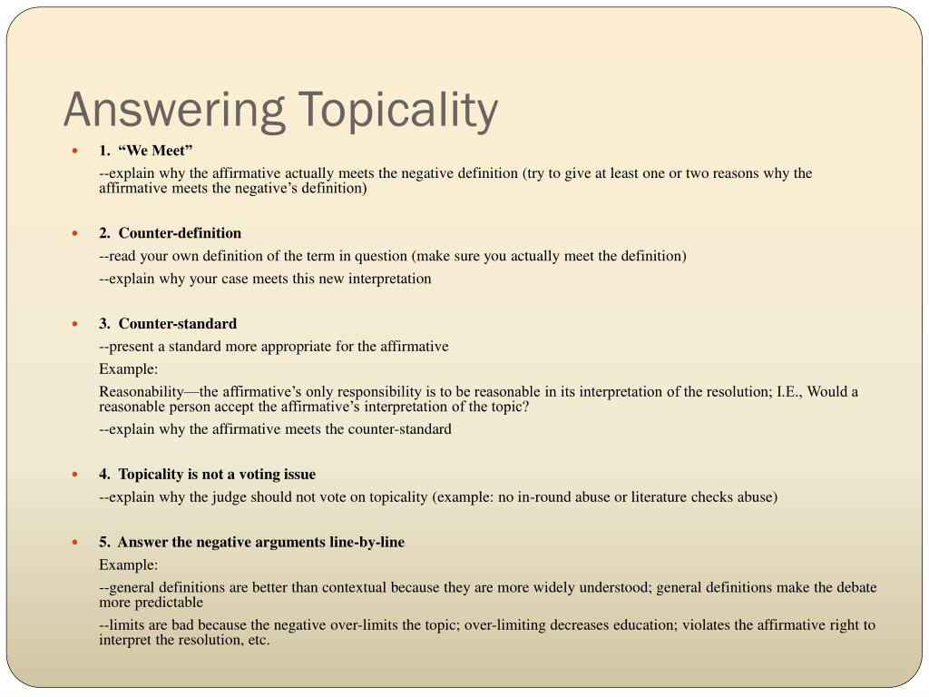 Answering Topicality