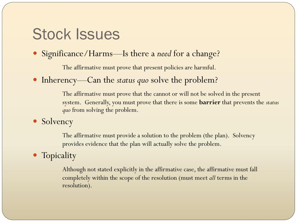 Stock Issues