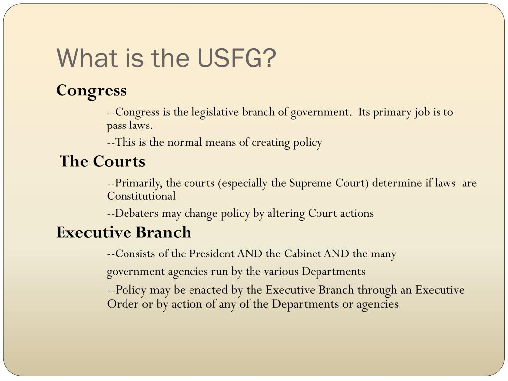 What is the USFG?