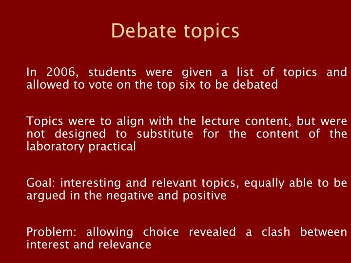 list of debate topics for students