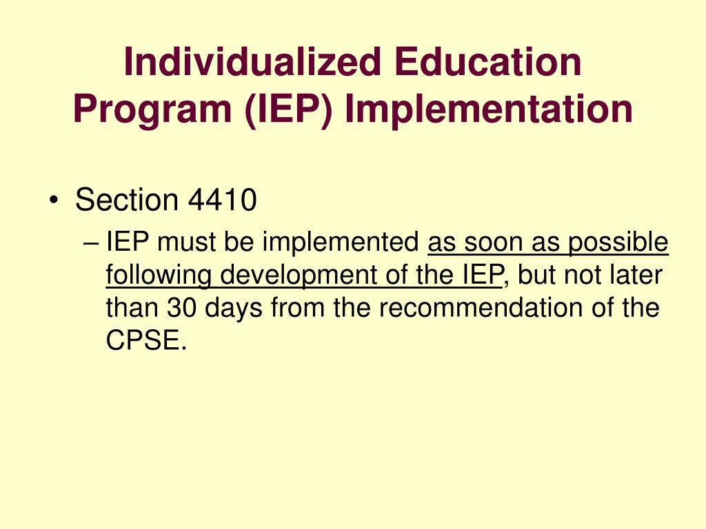 Individualized Education Program (IEP) Implementation