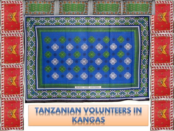 Tanzanian volunteers in kangas