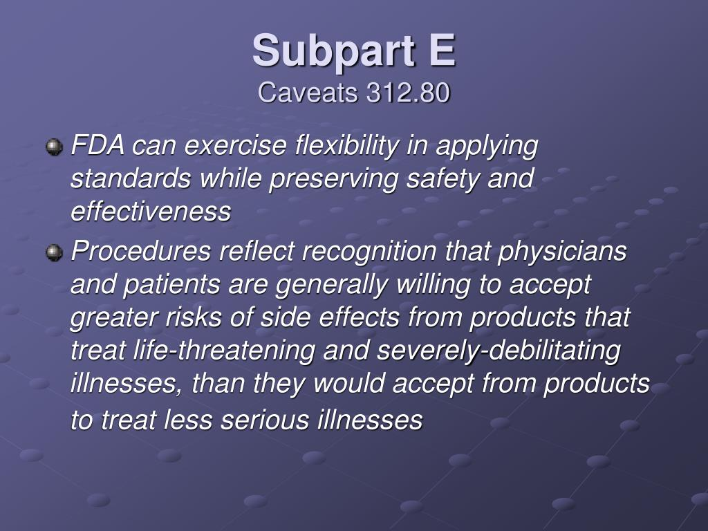 Subpart E