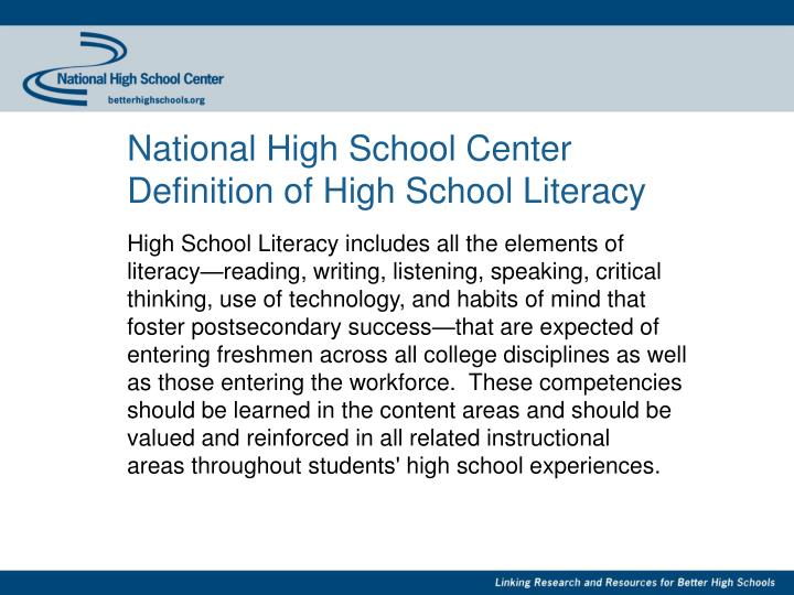National high school center definition of high school literacy