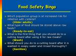 food safety bingo