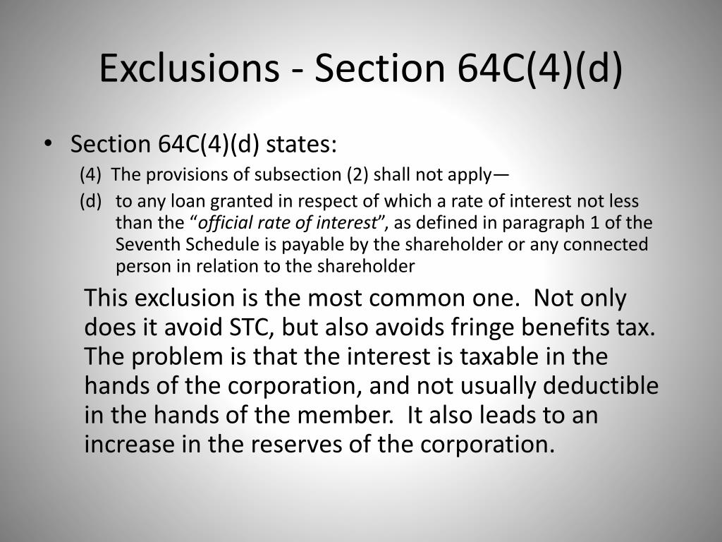 Exclusions - Section 64C(4)(d)
