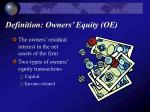definition owners equity oe