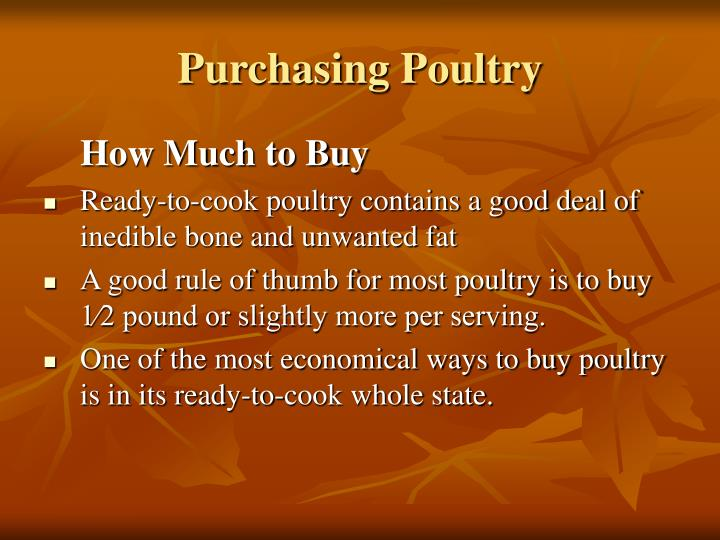 Purchasing Poultry