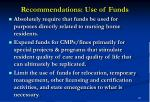 recommendations use of funds