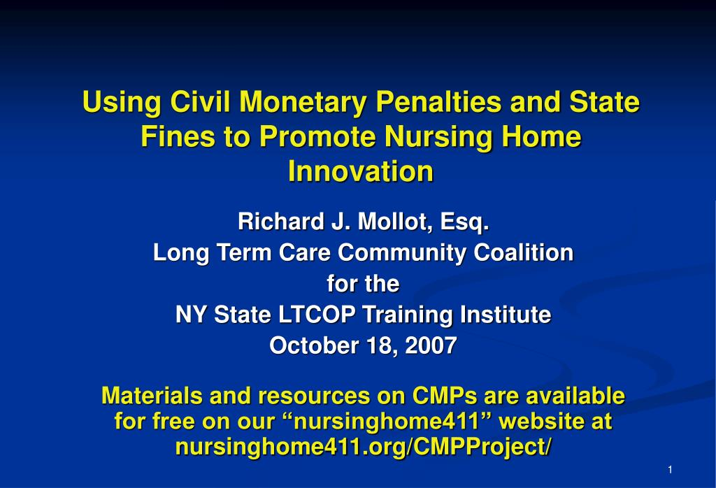 using civil monetary penalties and state fines to promote nursing home innovation l.