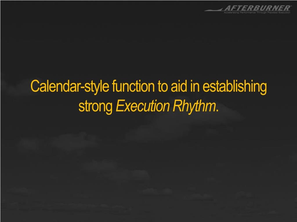 Calendar-style function to aid in establishing strong