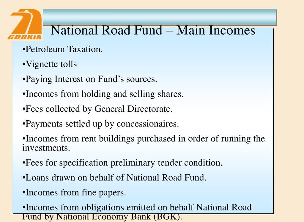 National Road Fund – Main Incomes