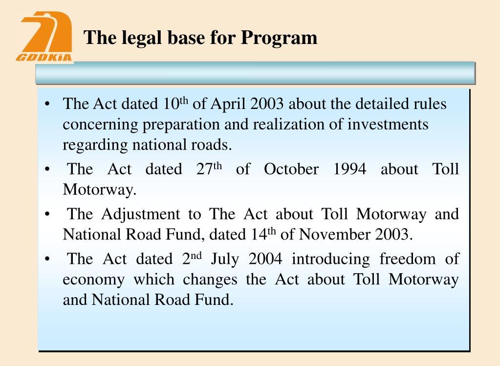The legal base for Program
