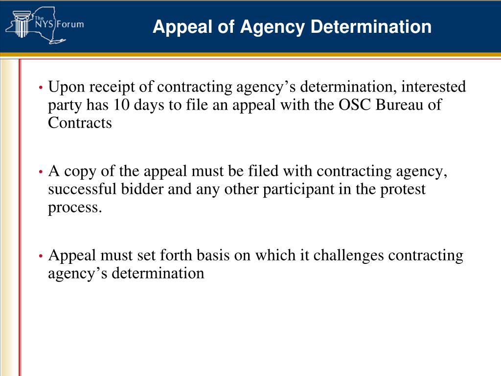 Appeal of Agency Determination