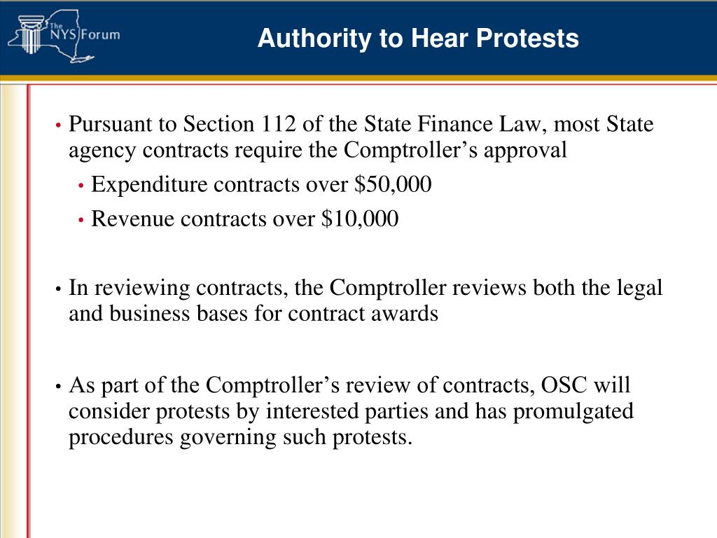 Authority to Hear Protests