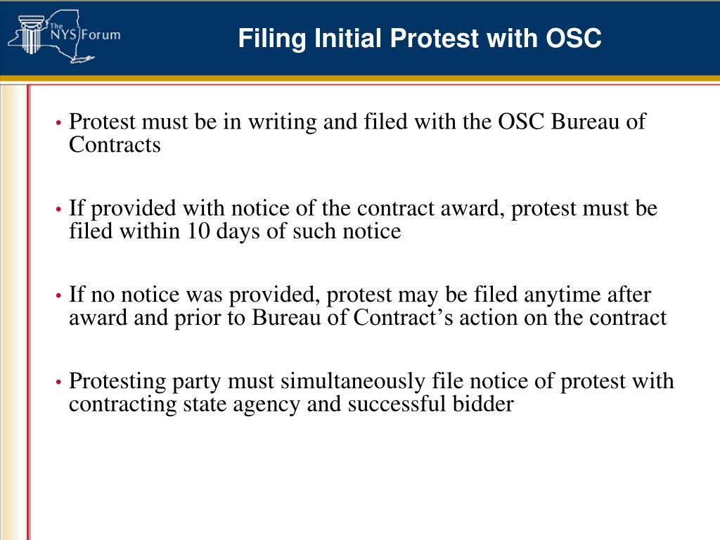 Filing Initial Protest with OSC