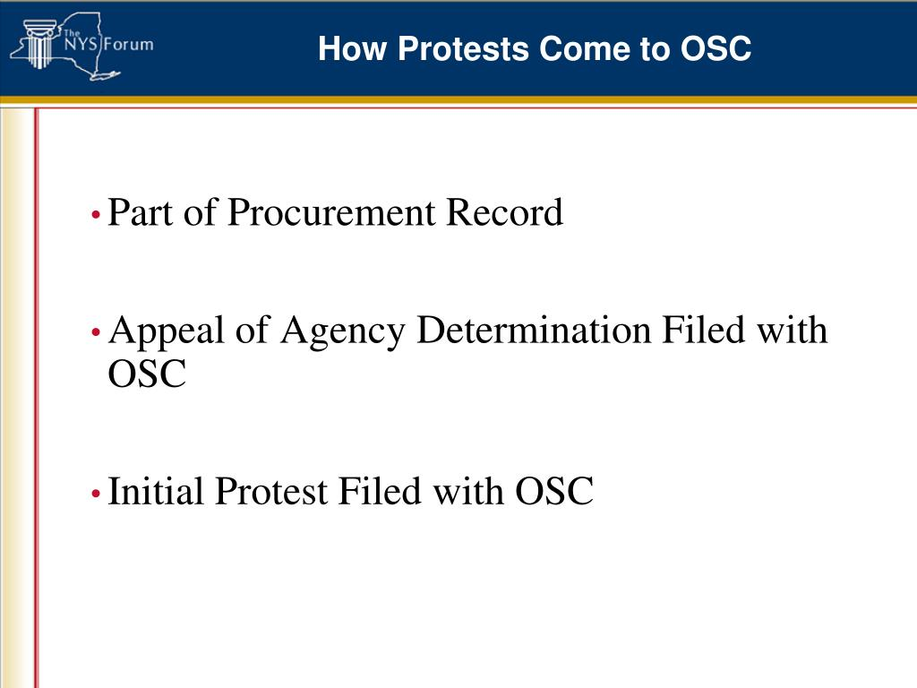 How Protests Come to OSC