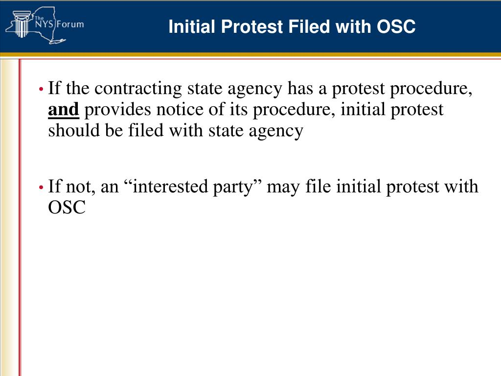 Initial Protest Filed with OSC