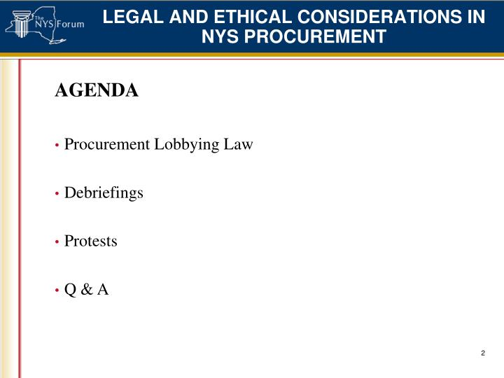 Legal and ethical considerations in nys procurement