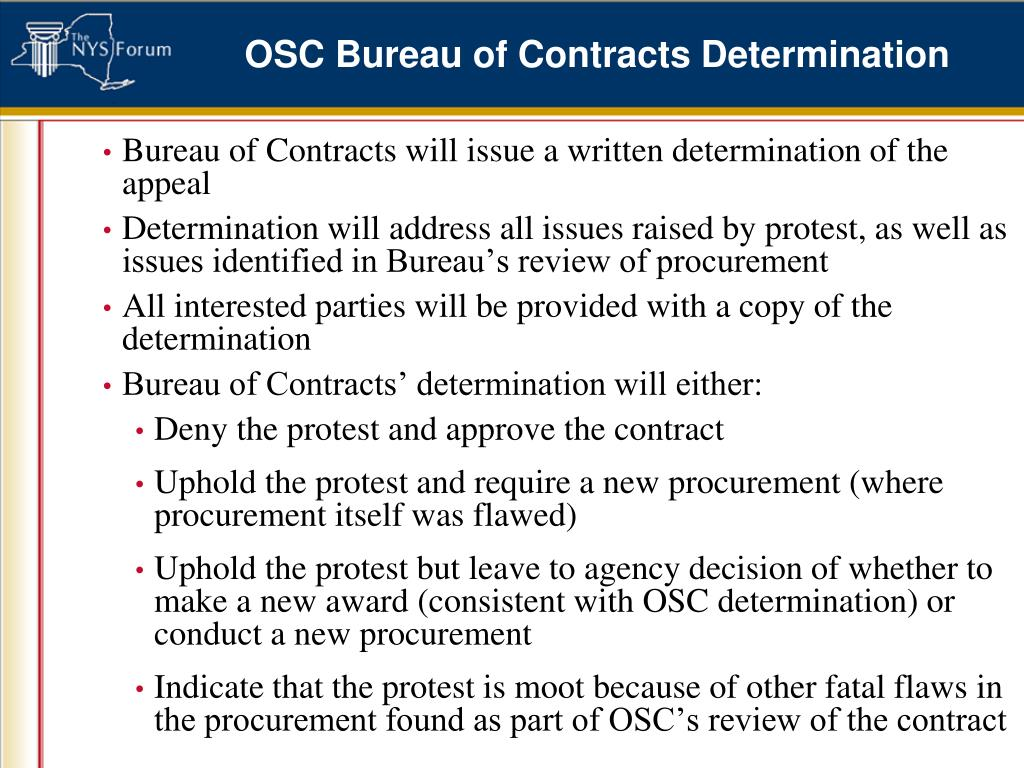 OSC Bureau of Contracts Determination