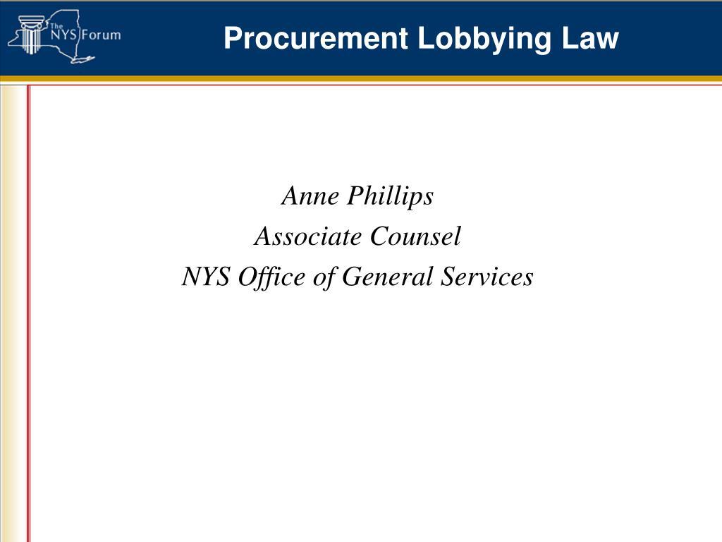 Procurement Lobbying Law
