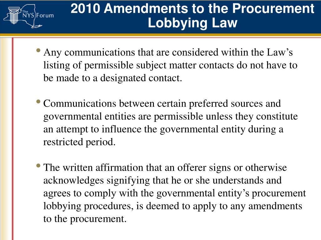 2010 Amendments to the Procurement Lobbying Law