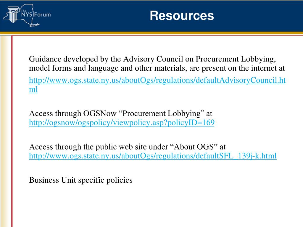 Guidance developed by the Advisory Council on Procurement Lobbying, model forms and language and other materials, are present on the internet at