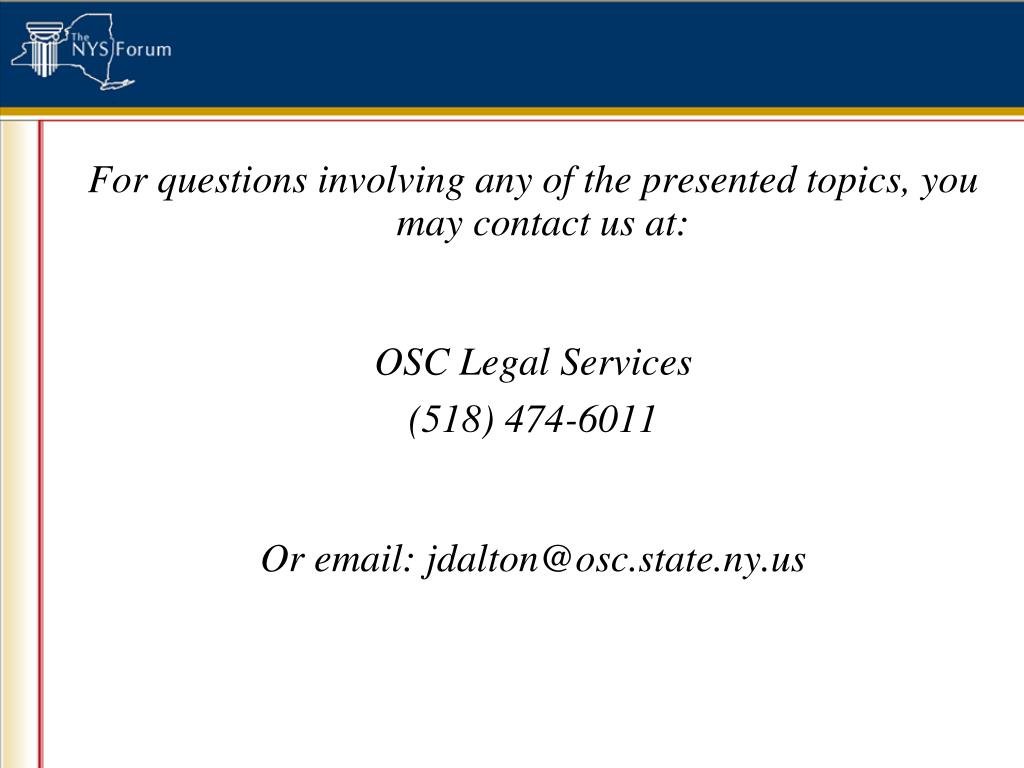 For questions involving any of the presented topics, you may contact us at: