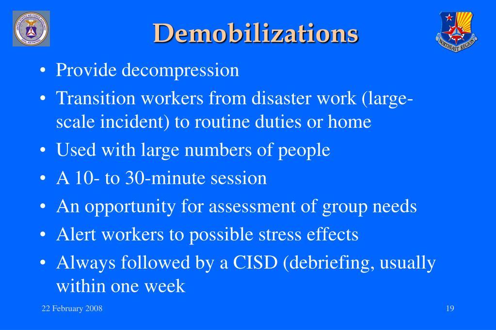 Demobilizations