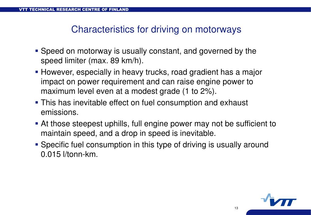 Characteristics for driving on motorways