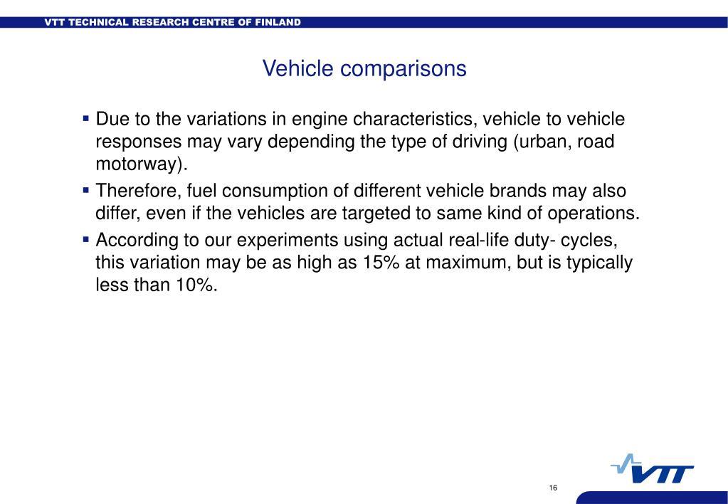 Vehicle comparisons
