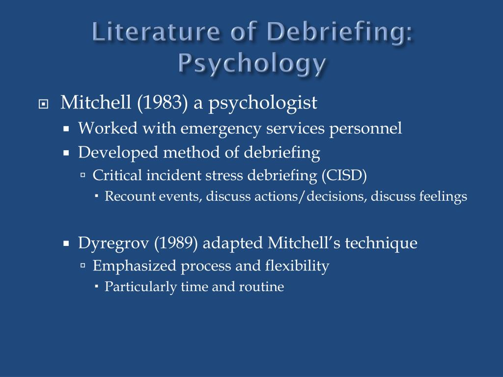 Literature of Debriefing: Psychology