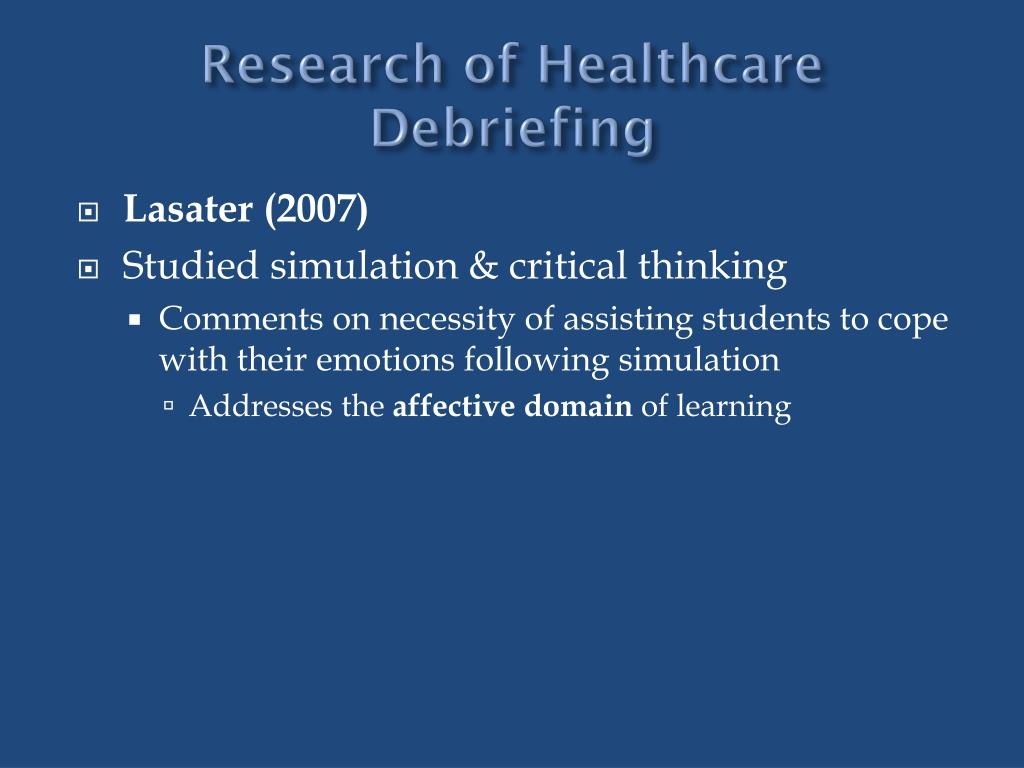 Research of Healthcare Debriefing