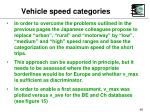 vehicle speed categories