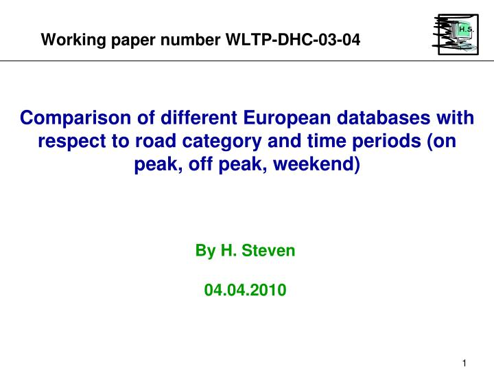 Working paper number wltp dhc 03 04