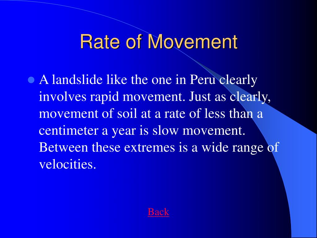Rate of Movement