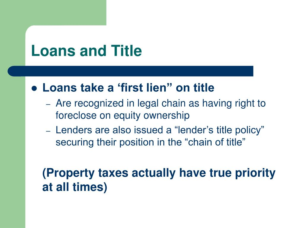 Loans and Title