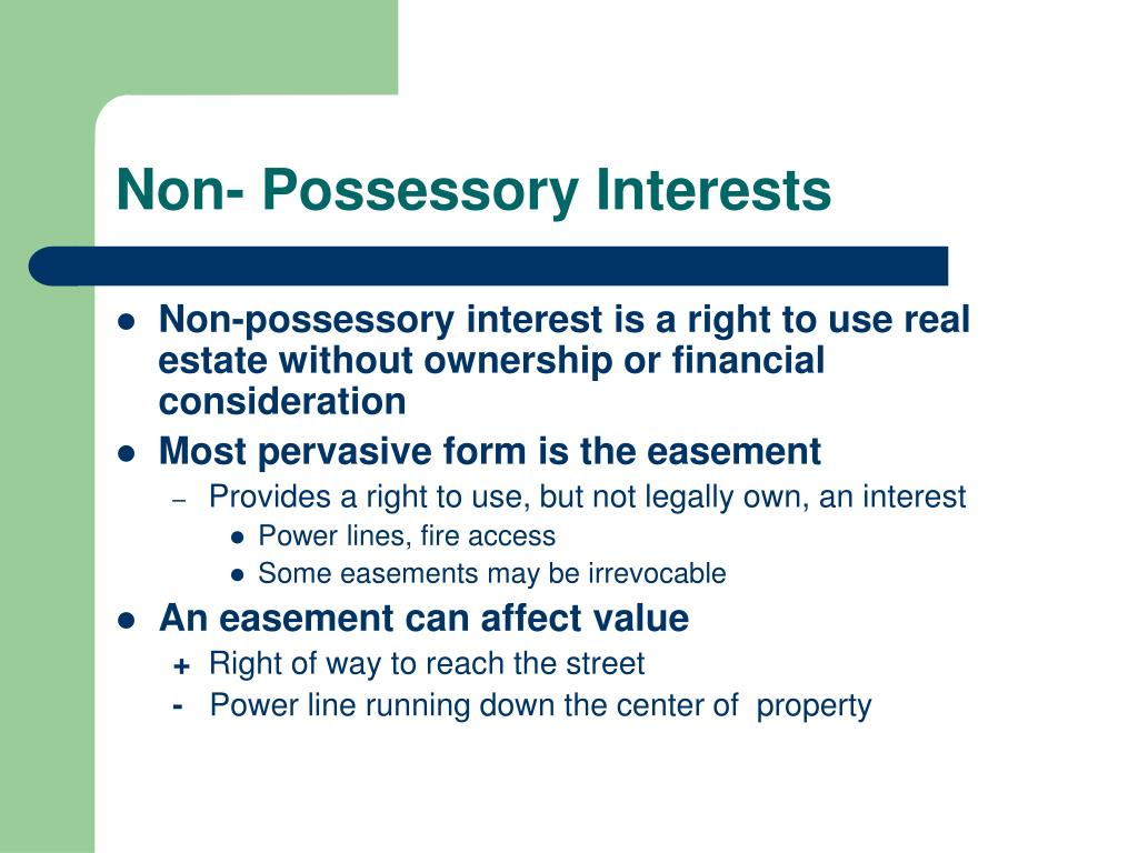 Non- Possessory Interests
