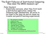 the eight fallacies of distributed computing how does the grid measure up