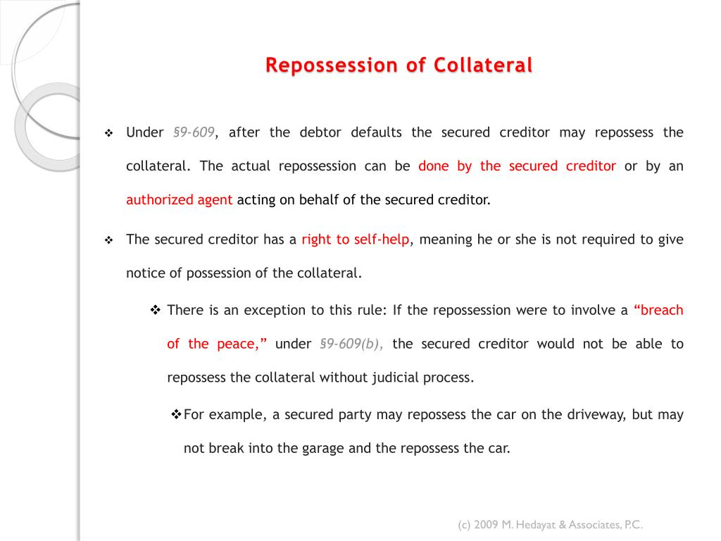 Repossession of Collateral