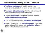 the german hgv tolling system objectives