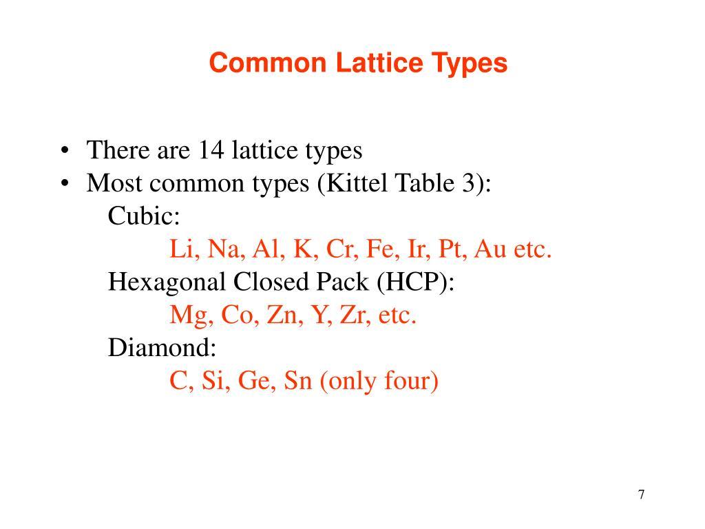 Common Lattice Types