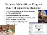 distance ed certificate program univ of wisconsin madison