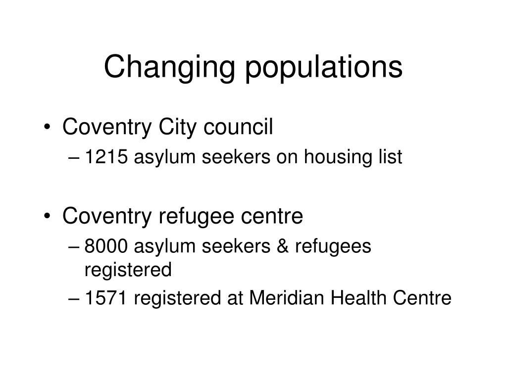 Changing populations
