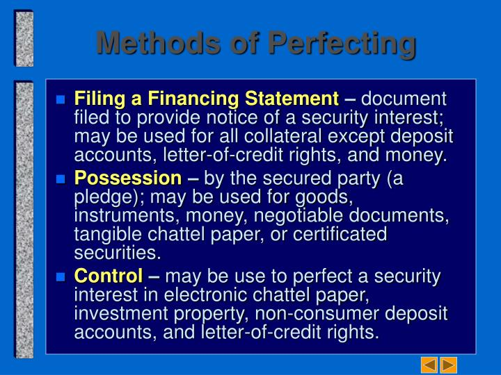 Perfection Of Security Interest In Investment Property