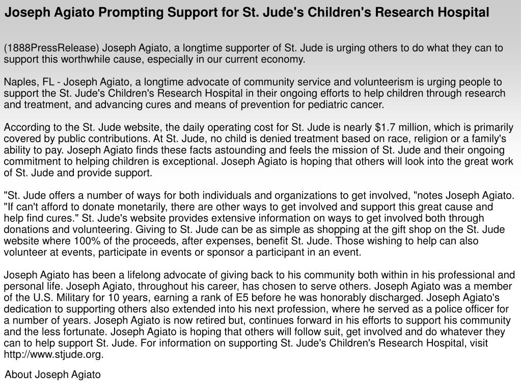 Joseph Agiato Prompting Support for St. Jude's Children's Research Hospital