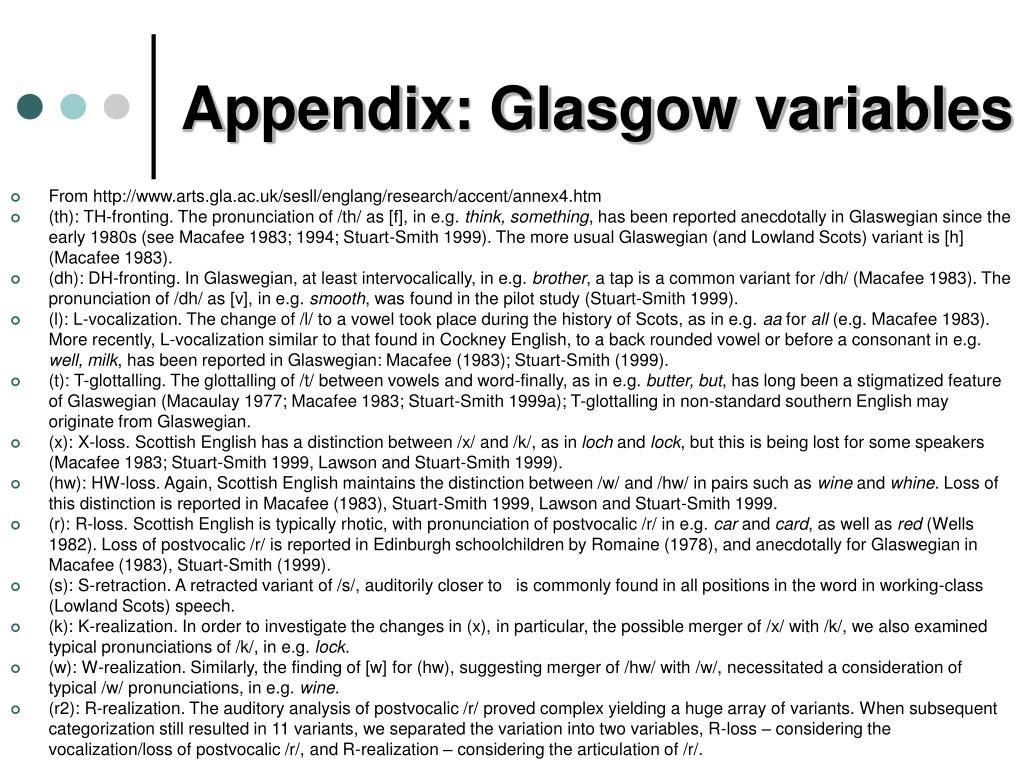 Appendix: Glasgow variables